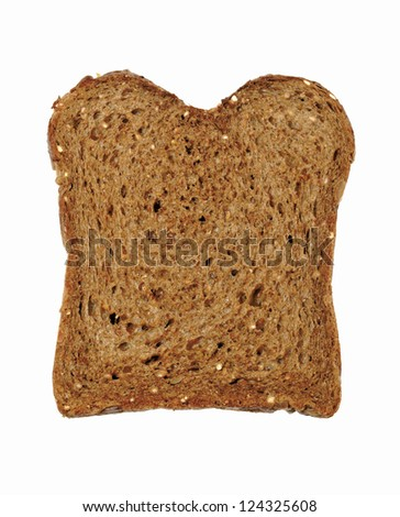 Slice of fresh wholemeal bread isolated on white background.