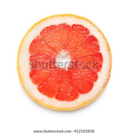 slice of grapefruit isolated on white background - stock photo