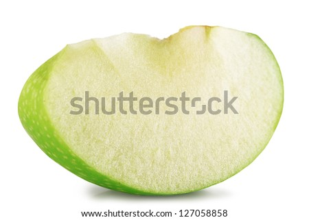 Slice of green apple on a white background. - stock photo