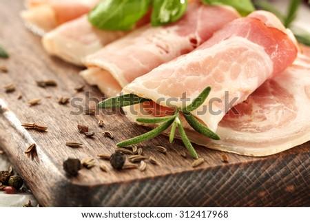 slice of ham  - stock photo