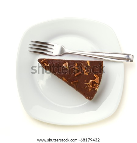 Slice of homemade Chocolate Cake isolated on white viewed from above.