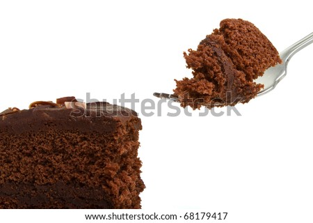 Slice of homemade Chocolate Cake with fork isolated on white.