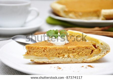 Slice of homemade pumpkin pie with whipped cream and mint