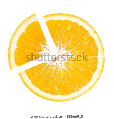 Slice of Juicy Orange in the shape pie chart - stock photo