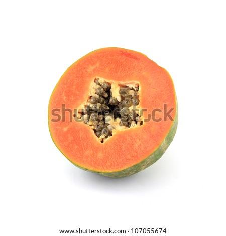 Slice of juicy papaya fruit isolated on white background - stock photo