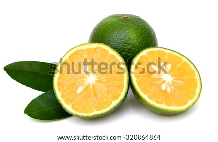 slice of king orange fruit isolated - stock photo