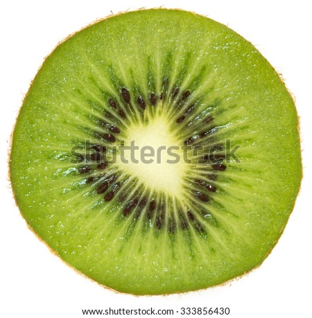 slice of kiwi isolated on white background - stock photo