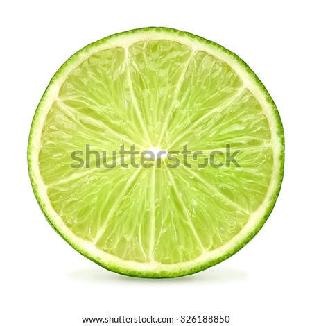 Slice of lime citrus isolated on white background including clipping path - stock photo