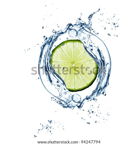 Slice of  lime in water splash - excellent quality - stock photo