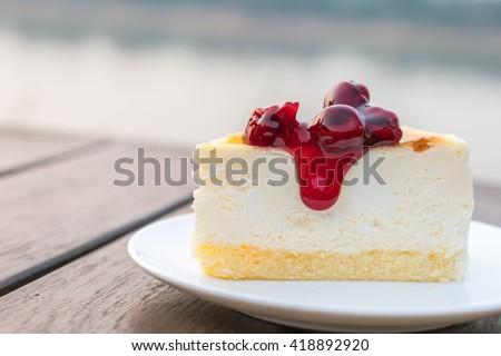 Slice of New York Cheesecake - stock photo