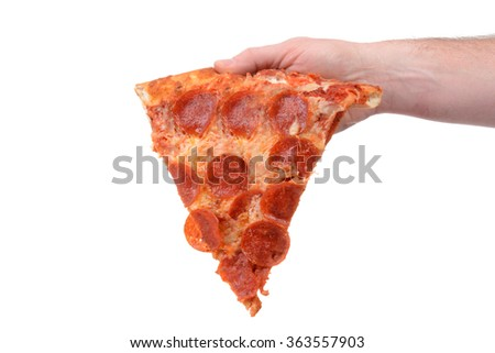 slice of new york style pizza with pepperoni isolated white background