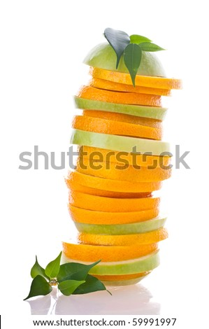 Slice of orange and apple. - stock photo