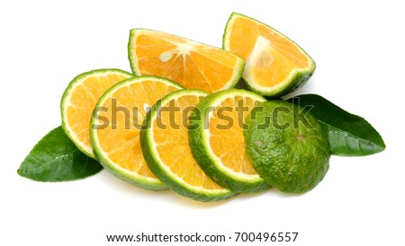 slice of orange fruit isolated on white background