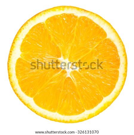 Slice of orange fruit on white background - stock photo
