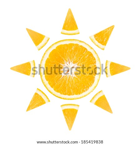 Slice of orange in the form of sun on white background - stock photo