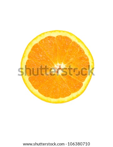 slice of orange isolated on white background - stock photo