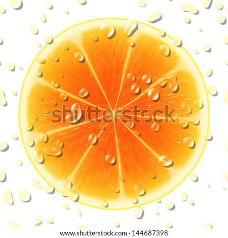 Slice of orange isolated on white background.