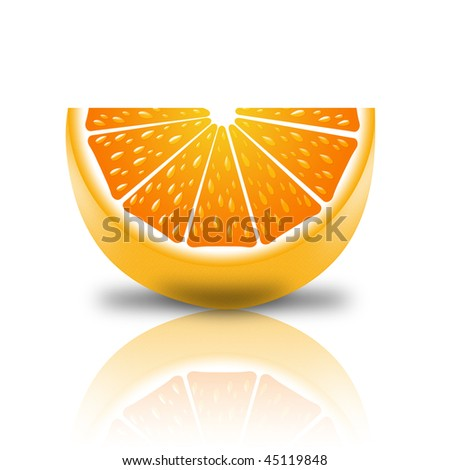 slice of orange on a white background with reflection - stock photo