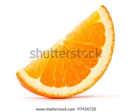 slice of orange over white background - stock photo