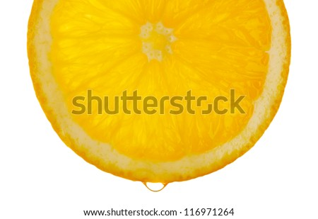 Slice of orange with drop, isolated on white