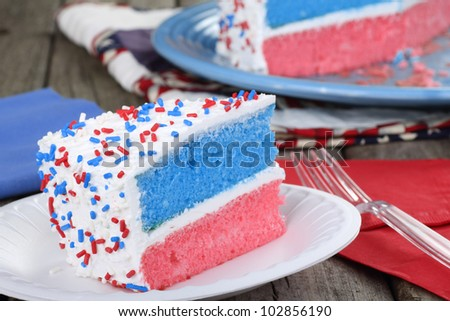 Slice of patriotic cake on a plate - stock photo
