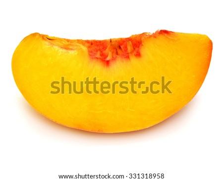 Slice of peach isolated on white background - stock photo