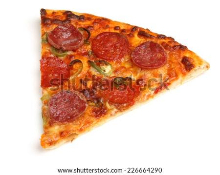 Slice of pepperoni pizza on white background - stock photo