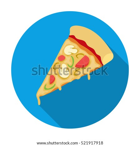 Slice of pizza icon in flat style isolated on white background. Pizza and pizzeria symbol stock bitmap illustration.