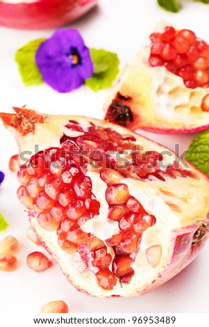 Slice of pomegranate close up