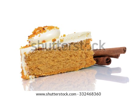 slice of pumpkin cake isolated on white background - stock photo