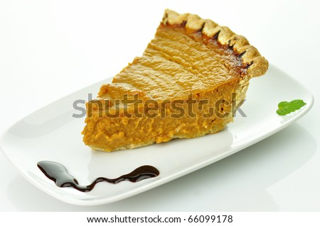 slice of pumpkin pie - stock photo