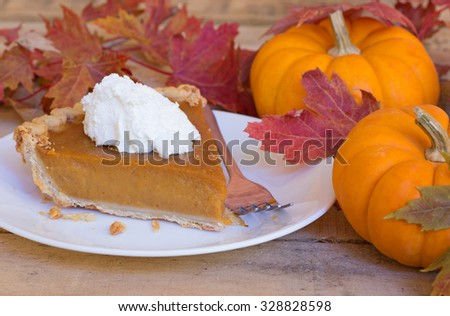 Slice of pumpkin pie with topping and autumn decoration - stock photo