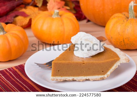Slice of pumpkin pie with whipped topping and pumpkins in background - stock photo