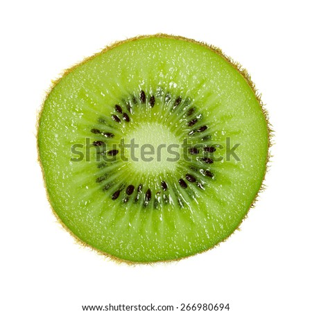 Slice of ripe kiwi in macro scale. White background - stock photo