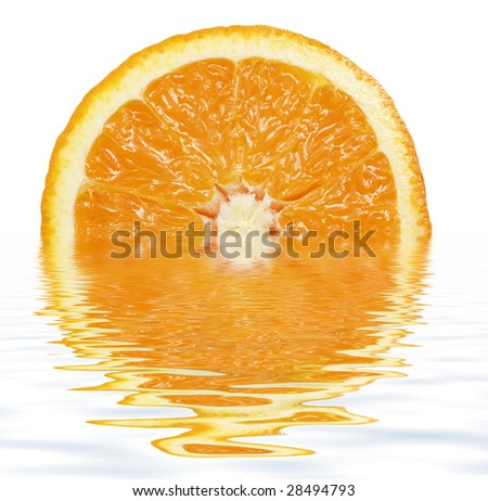slice of ripe orange in clear fresh water