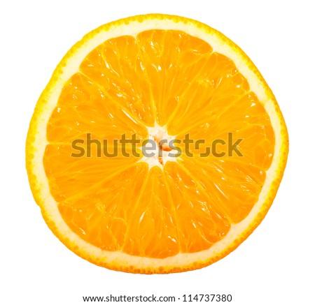 Slice of ripe orange isolated on white background - stock photo