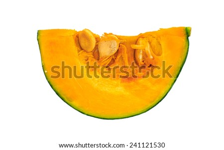 Slice of ripe pumpkin on a white background  - stock photo