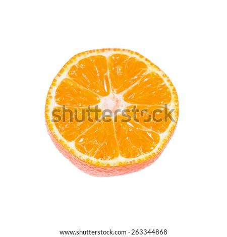 Slice of ripe tangerine isolated on white background - stock photo