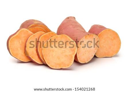 slice of sweet potatoes on the white background