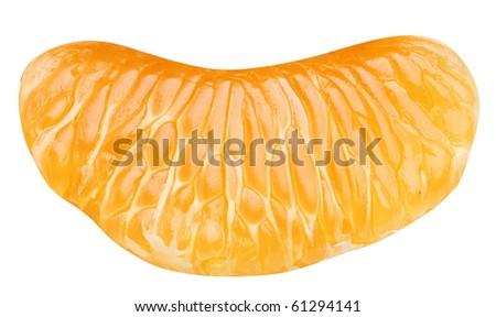 Slice of tangerine on white background - stock photo