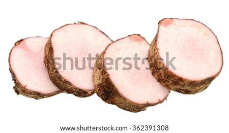 slice of taro isolated on white background - stock photo