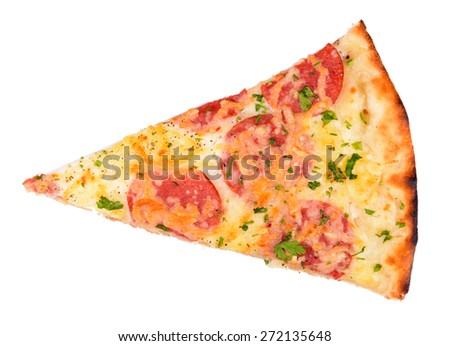 Slice of tasty pizza isolated on white - stock photo