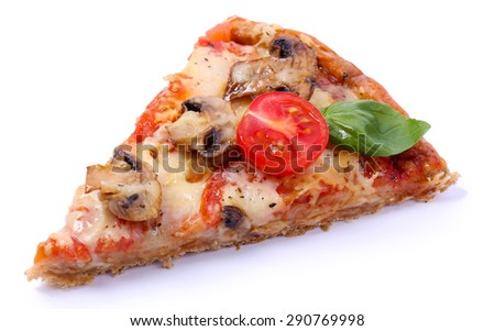 Slice of tasty pizza with vegetables and basil isolated on white - stock photo