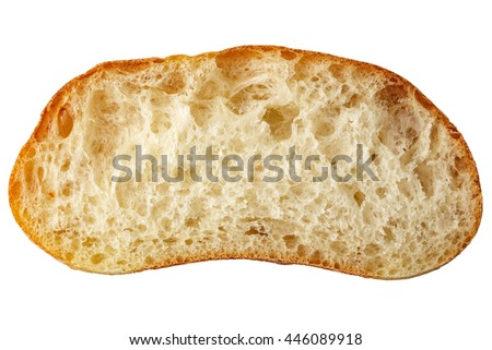 Slice of the bread isolated over the white background - stock photo