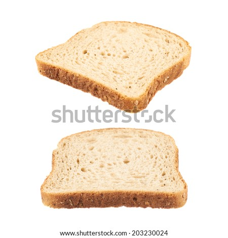 Slice of the toast bread isolated over the white background, set of two foreshortenings - stock photo
