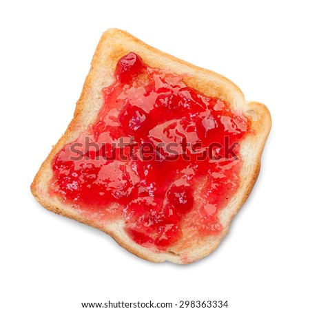 Slice of toast bread with jam isolated on a white. Top view. - stock photo