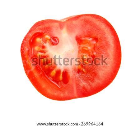 slice of tomato isolated on white - stock photo