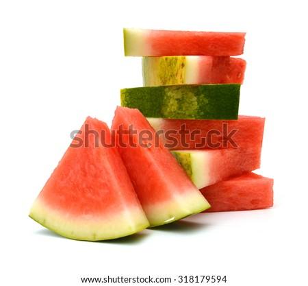 Slice of watermelon on white background  - stock photo