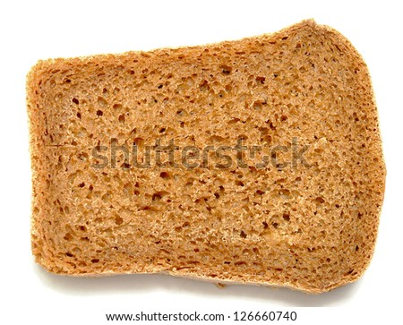slice of wheat bread isolated white background
