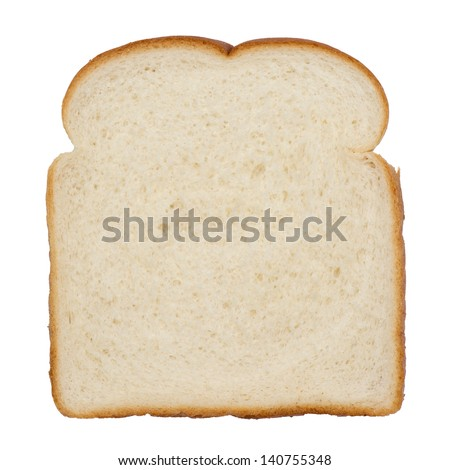 Slice of white bread isolated on white - stock photo